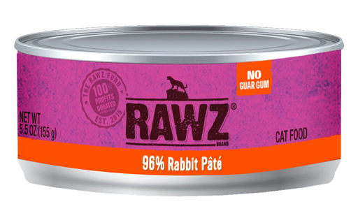 RAWZ 96% Rabbit Pâté Canned Cat Food - 5.5oz Cans, Case of 24
