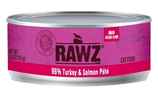 RAWZ 96% Turkey & Salmon Pâté Canned Cat Food - 5.5oz Cans, Case of 24