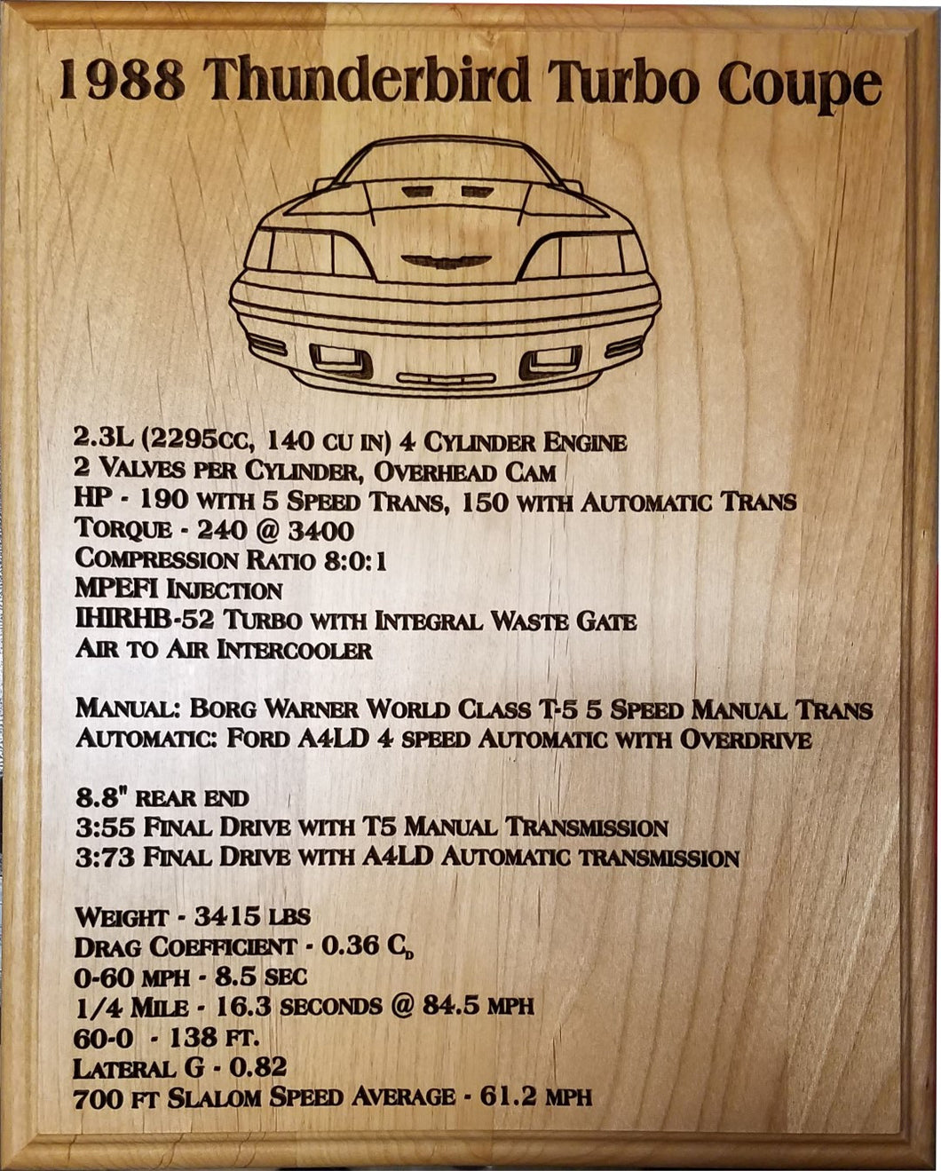 1988 Thunderbird Turbo Coupe Display Plaque