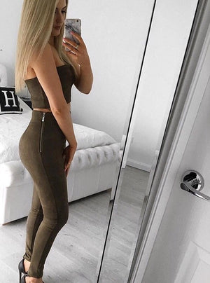 Two piece Khaki leggings and bandeau top