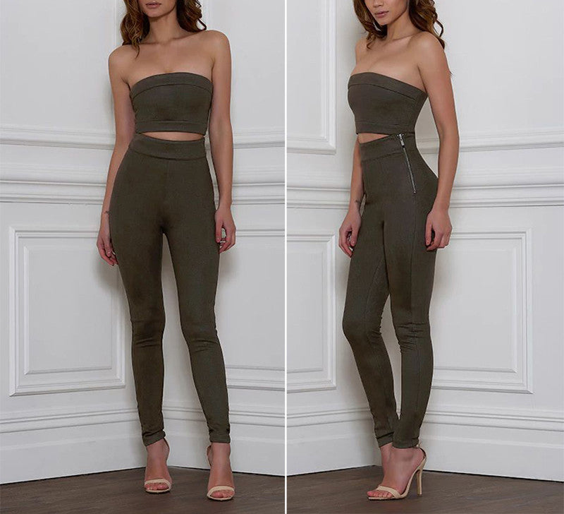 Khaki colore 2 piece top and bottom
