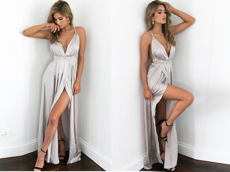 sexy silver evening dress