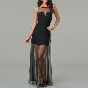 Black Long Evening Dress Gown