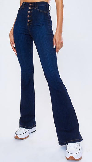 p1115 dark stone vibrant nora button up flare jeans