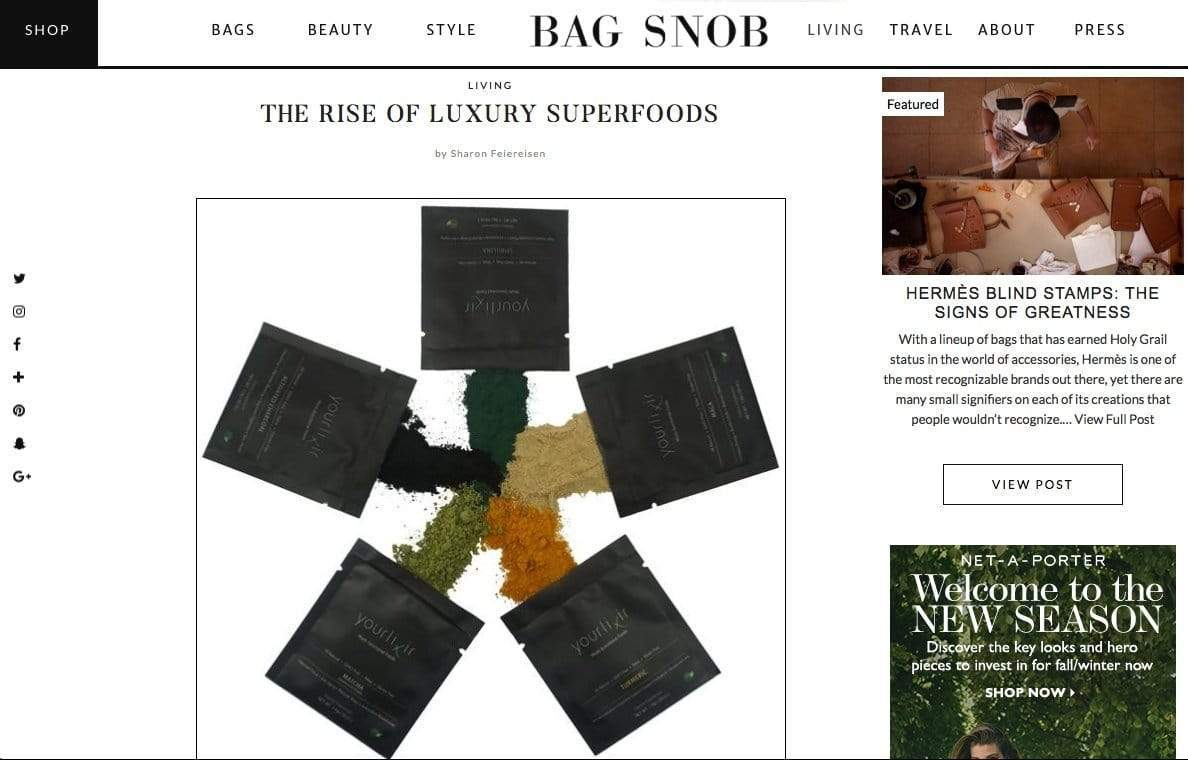"BAG SNOB ""The Rise of Luxury Superfoods"""
