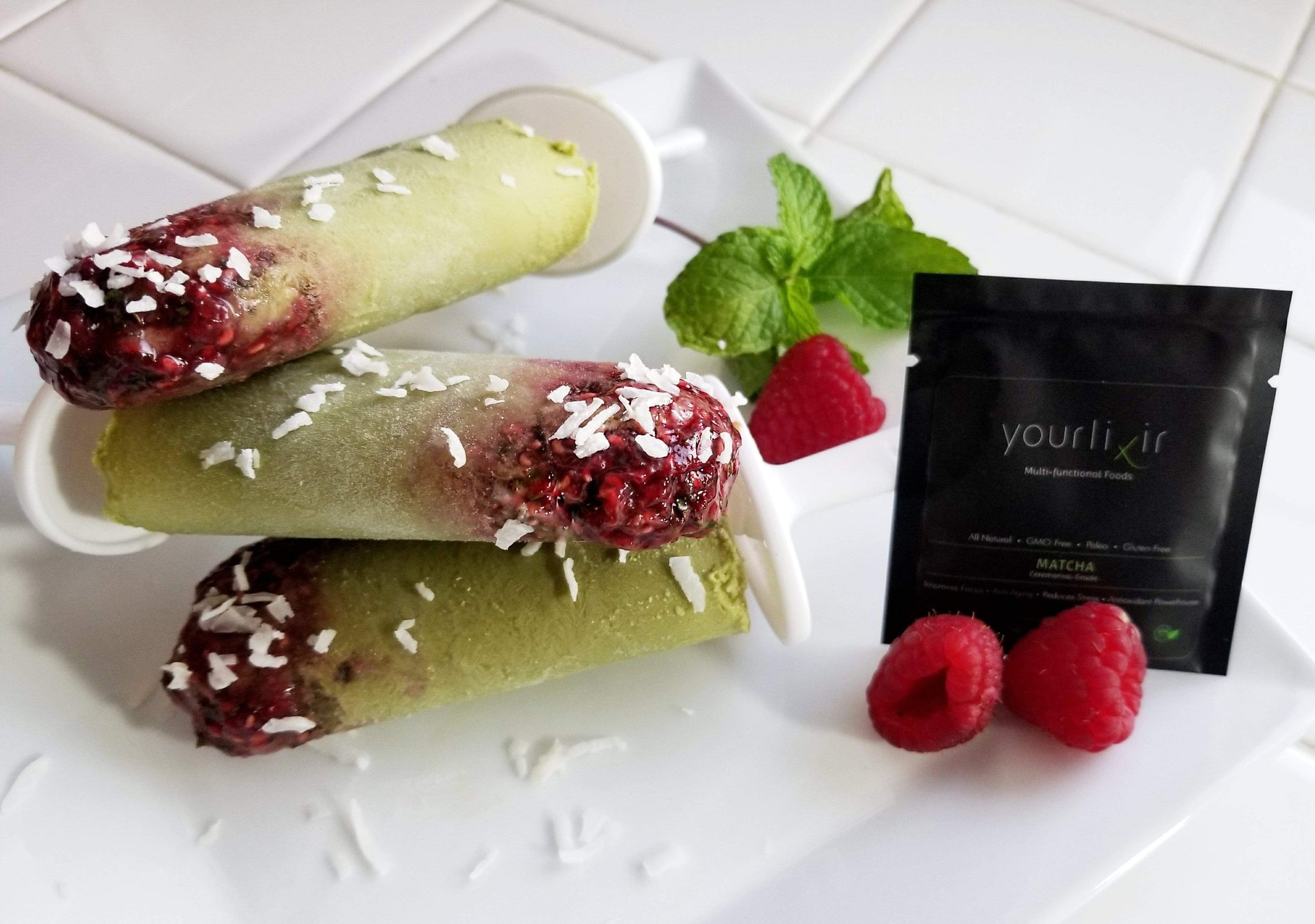 Coconut Raspberry Matcha Pops