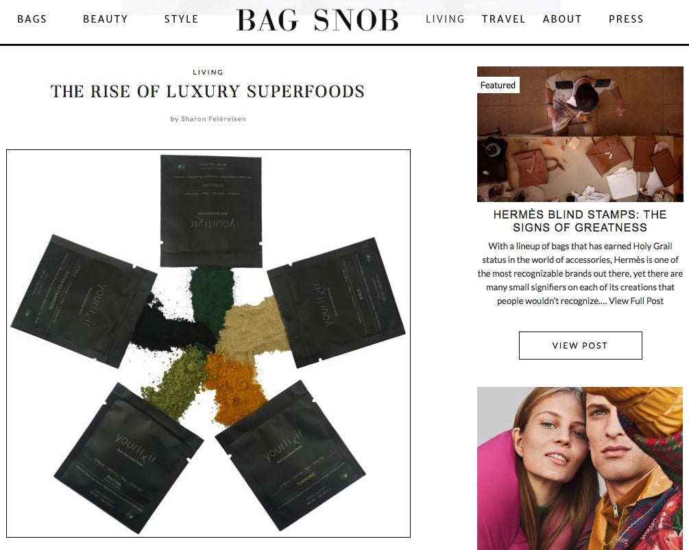 yourlixir superfoods luxury bag snob