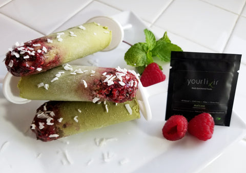 Yourlixir Coconut Raspberry Matcha Popsicles Recipe