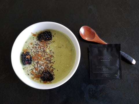 yourlixir matcha banana smoothie bowl
