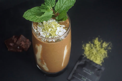 Yourlixir Banana Matcha Mint Smoothie featuring NibMor Chocolate