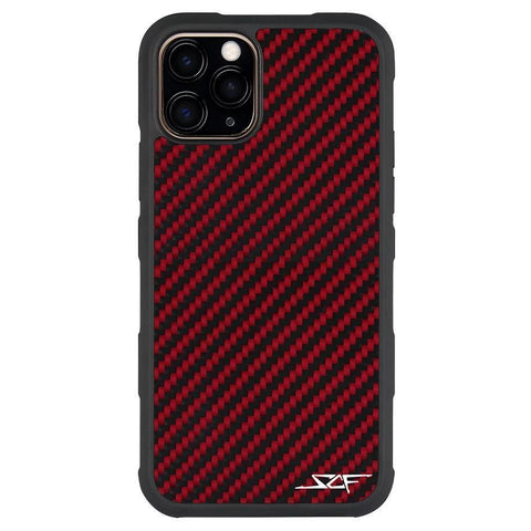 iPhone 11 Pro Max Red Carbon Fiber Case | ARMOR Series