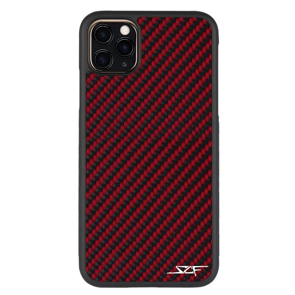 iPhone 11 Pro Max Red Carbon Fiber Phone Case | CLASSIC Series