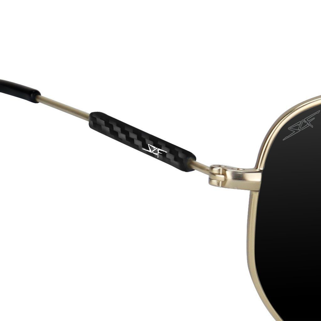 ●GEO● Real Carbon Fiber Sunglasses (Polarized Lens | Carbon Fiber Temples | Gold)