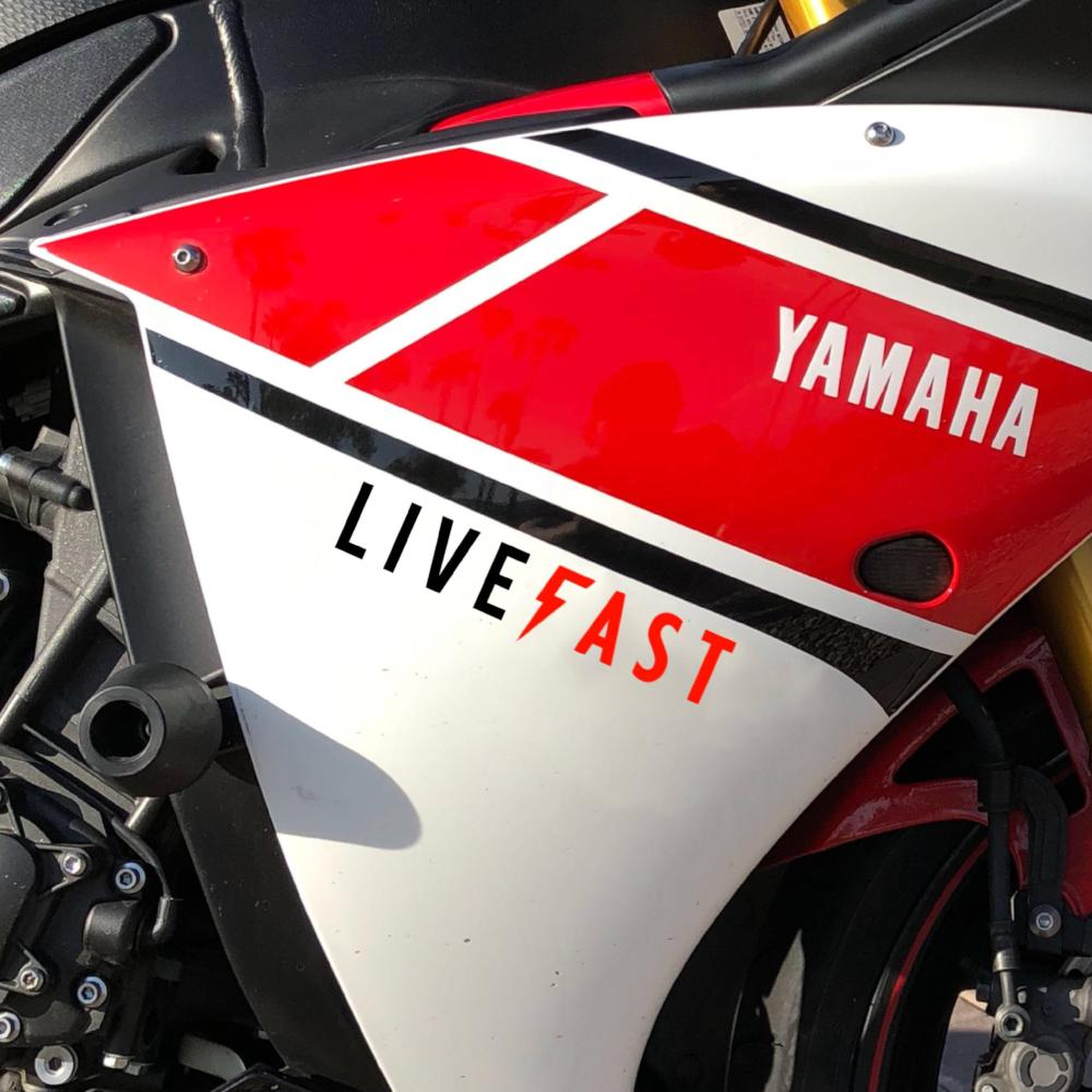 "8"" Live Fast Bolt Logo Sticker"