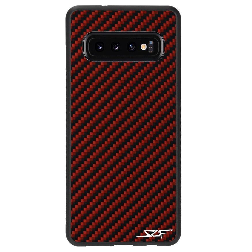 Samsung S10 Red Carbon Fiber Phone Case | CLASSIC Series