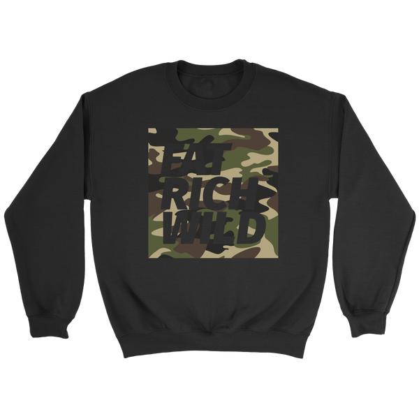 FAT RICH WILD CAMO CREWNECK SWEATER