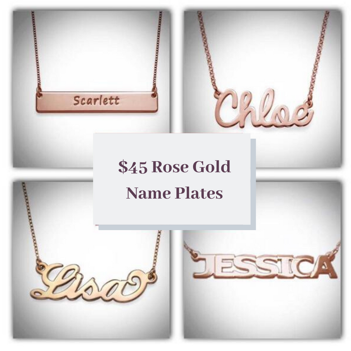 2020 BFCM Holiday Sale $45 Rose Gold Name Plates