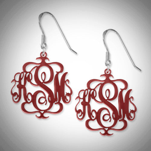 Monogram Cursive Drop Acrylic Earrings