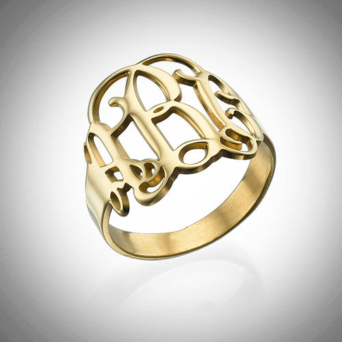 Monogram Cursive Ring