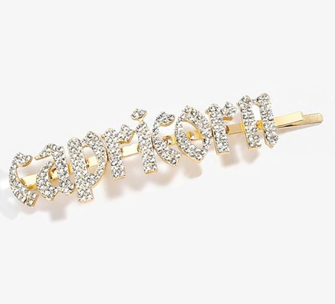 IN STOCK BLING HAIR PINS - ZODIAC GIRLY FONT