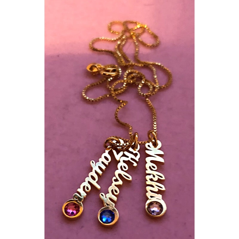 MDAY Cursive Drops with Birthstone