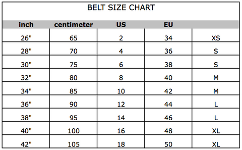 Belt Size Conversion Chart