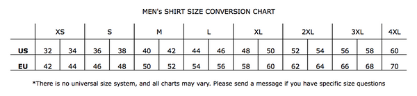 Men's Shirt Size Chart- UAL