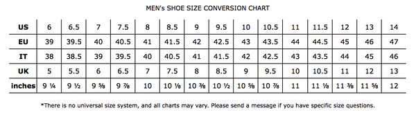 Men's Shoe Size Chart- UAL