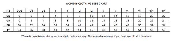 Women's Clothing Size Chart- UAL