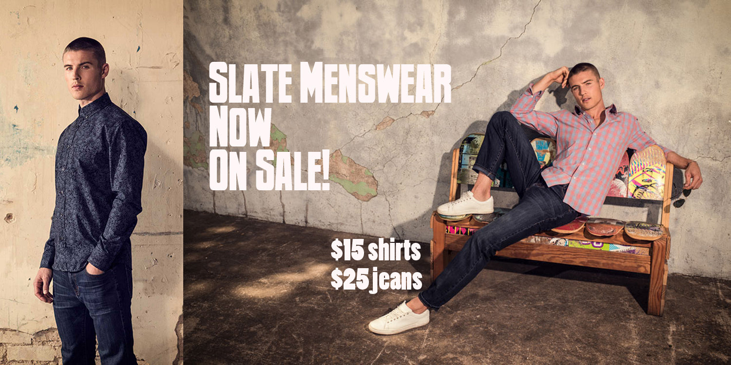 Men's Slate button down shirts and jeans are now on sale at shopUAL.com