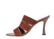 Francesco Russo Matt Scalloped Snakeskin Sandals in Tan/Black