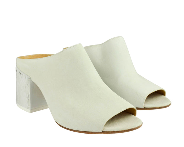 MM6 Maison Margiela White Suede Painted-Heel Mules - Discounts on MM6 Maison Margiela at UAL