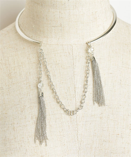 CHAIN DOUBLE TASSEL STONE NECKLACES