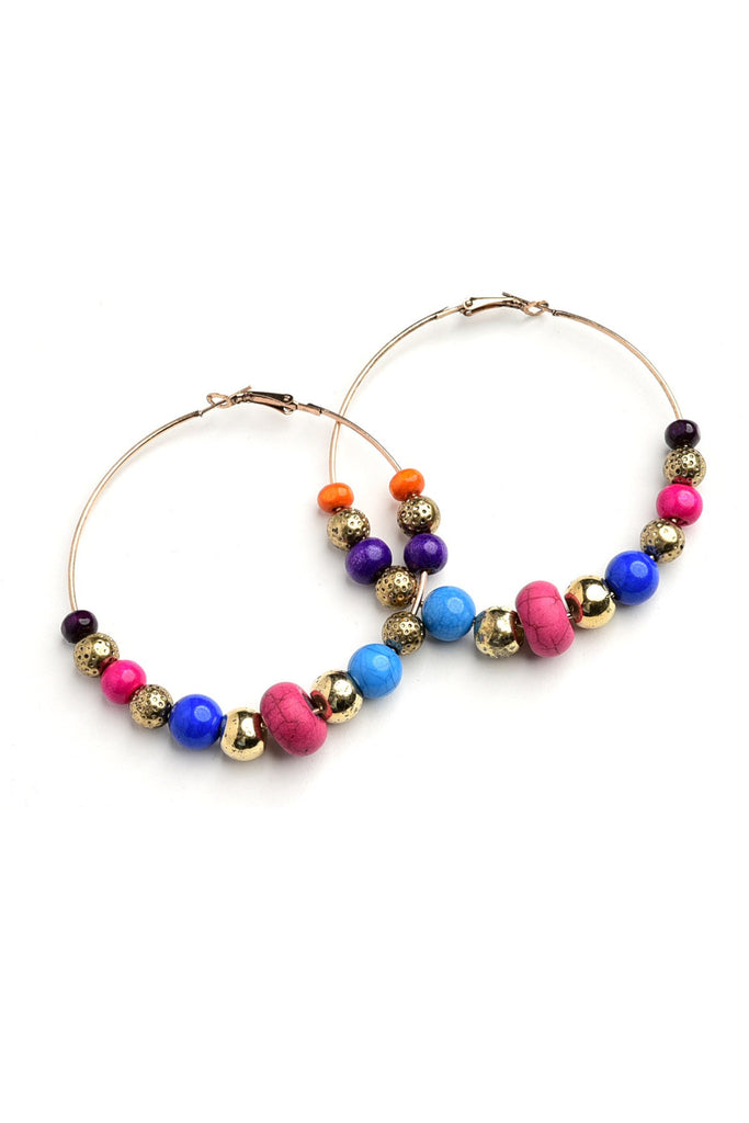 MULTI GEM HOOP EARRINGS