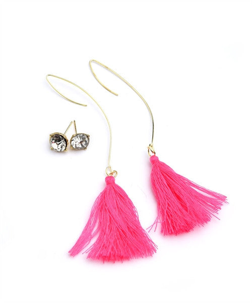 STONE & TASSEL DROP EARRINGS