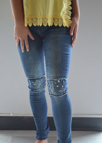 Studded Patch Jeans
