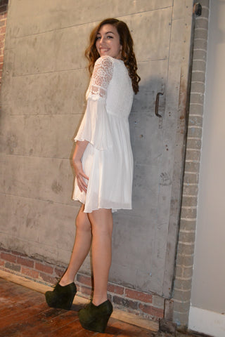 Bell Sleeve Laced Up Front Dress
