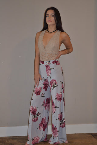 Floral Bell Bottom Pant