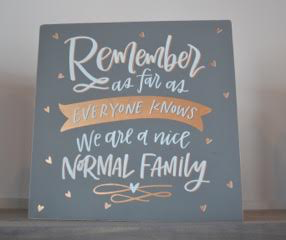 Remember As Far As Everyone Knows We Are A Nice Normal Family Box Sign