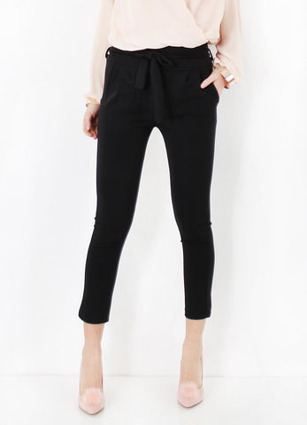 PAPERBAG SKINNY TROUSERS WITH TIE