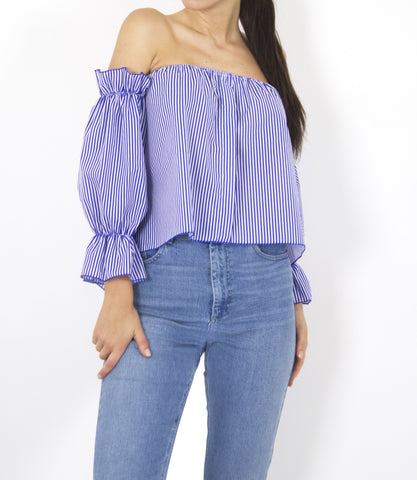 RUFFLE OFF THE SHOULDER STRIPE TOP