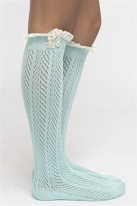Chevron Open Knit Boot Socks