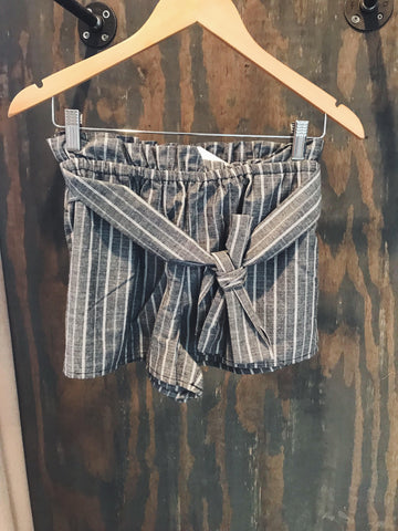 Vertical Stripe Self Tie Shorts