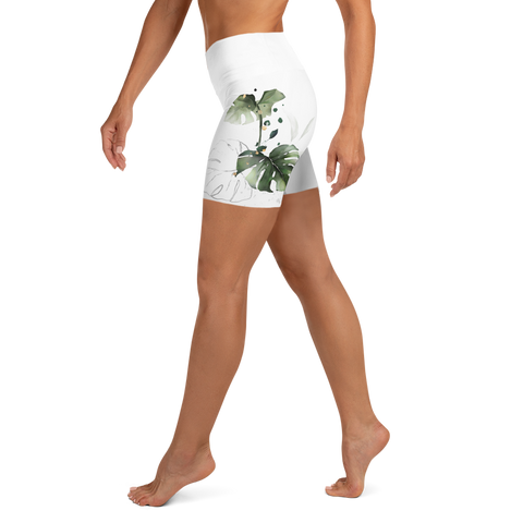 White Jungle Yoga Shorts