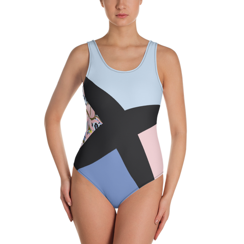 Light Blue-Pink Tre-Color Swimsuit