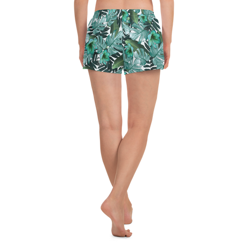 Green Floral - Athletic Shorts