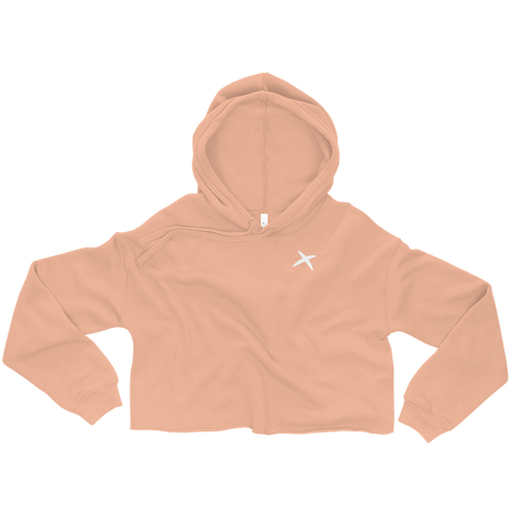 Fleece Crop Hoodie - Peach