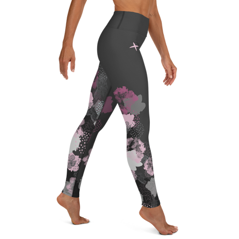 Flowers on Charcoal Yoga Leggings