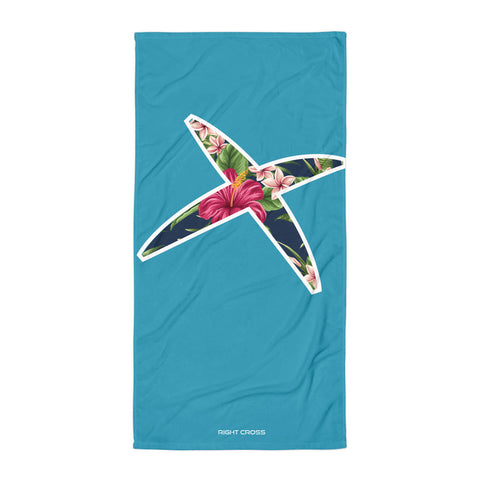 Floral X Turquoise Beach Towel