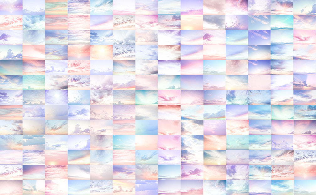 Digital Sky Overlay Collection III - Includes 176 beautiful pastel sky overlays - Modern Market